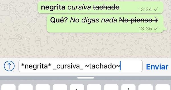 Escribe con negrita y cursiva en Whatsapp